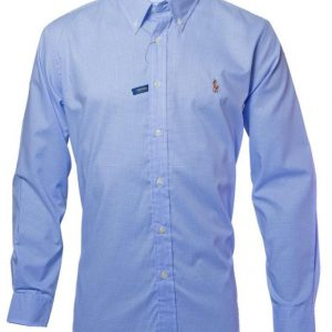 Men's Premium Brand Long Sleeve Cotton light blue check Shirts Diamu