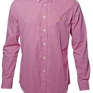 Men's Premium Brand Long Sleeve Cotton red mini check Shirts Diamu