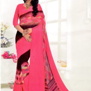 Indian Darpan Printed Chiffon Georgette Saree