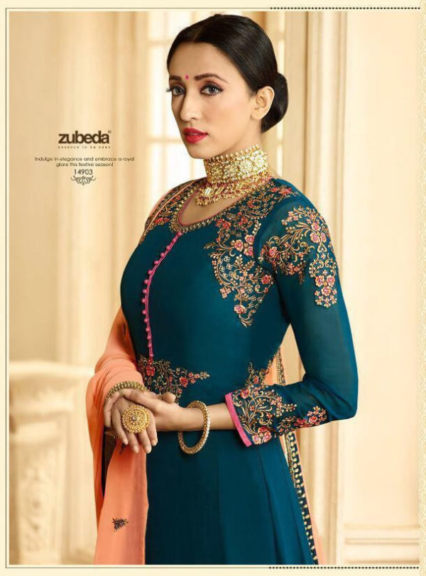 Zubeda Seher Embroidered Georgette Gown Suits 14903 Diamu