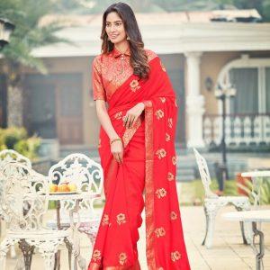 Embroidery Meena Work Silk Saree