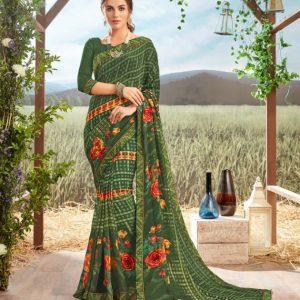 Floral Print Georgette Saree Chahat Gokul Dham 2053