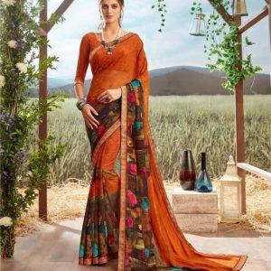 Floral Print Georgette Saree Chahat Gokul Dham 2054