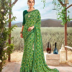 Floral Print Georgette Saree Chahat Gokul Dham 2059