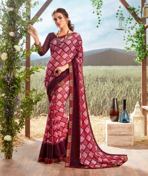 Floral Print Georgette Saree Chahat Gokul Dham 2060