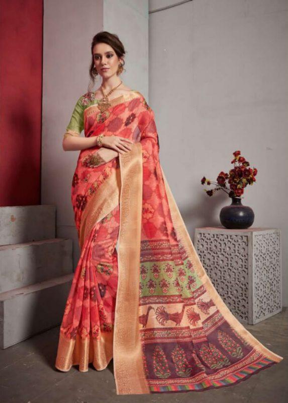 Jacquard Lilen Fancy Saree Alveera Aashi1765