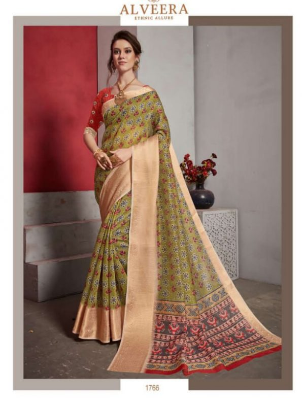 Jacquard Lilen Fancy Saree Alveera Aashi1766