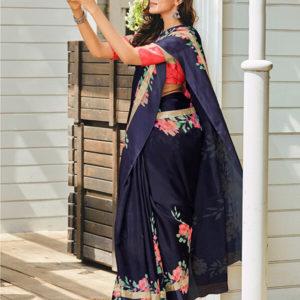 Lt Kora Kota Silk Floral Print Saree