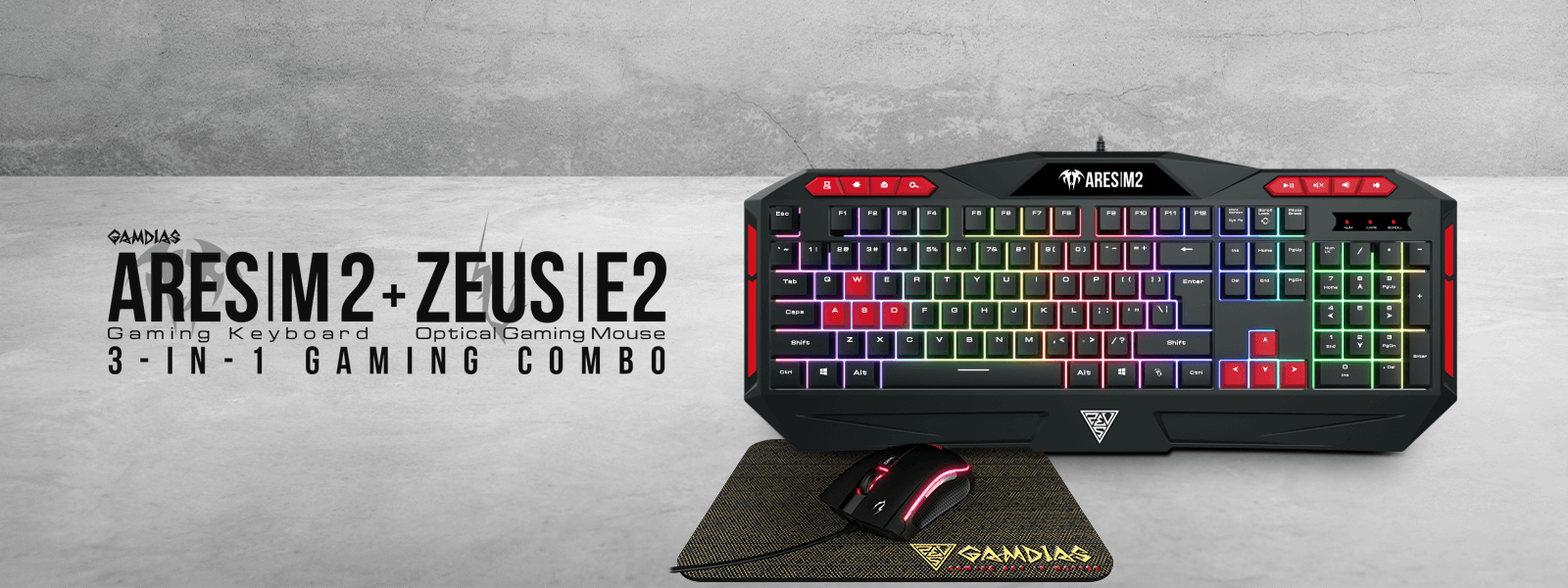 Gamdias ARES M2 Gaming Keyboard, Mouse and Mouse Mat Combo