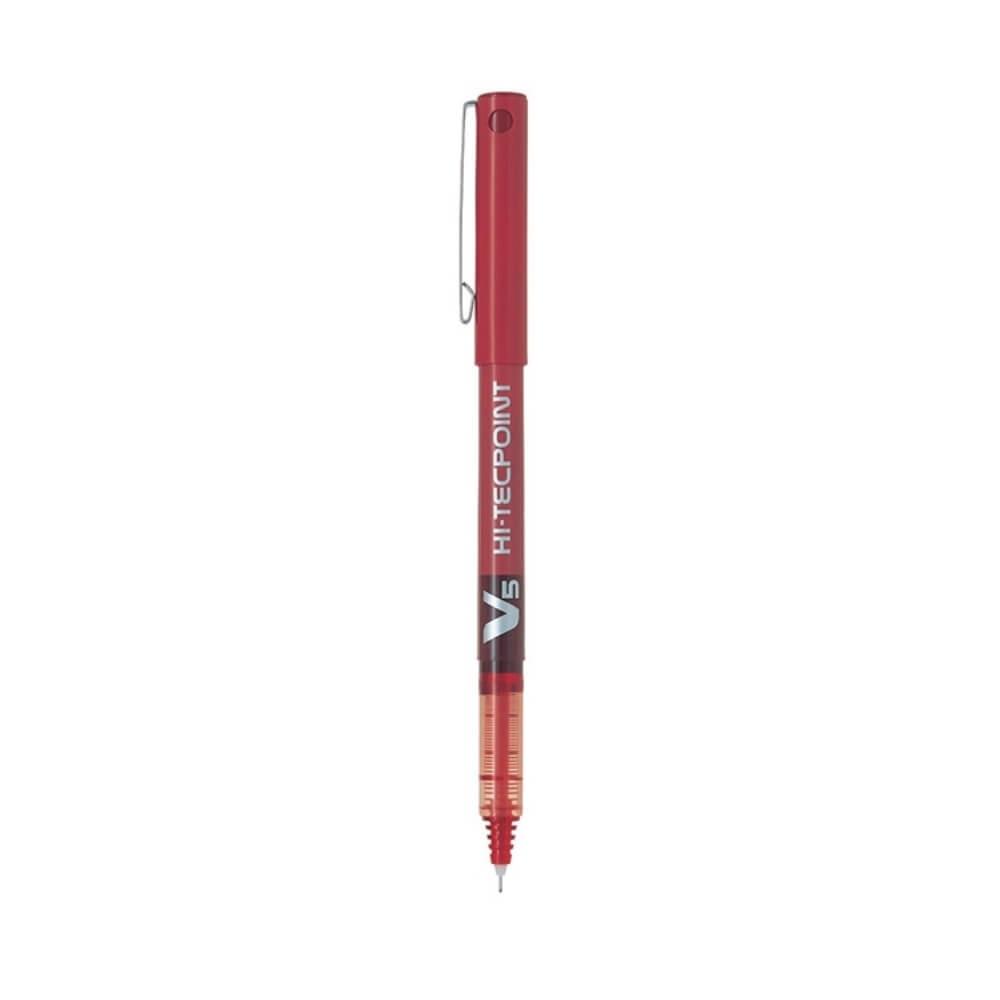 Pilot-V5-Hi-Tecpoint-Rollerball-Pen-red