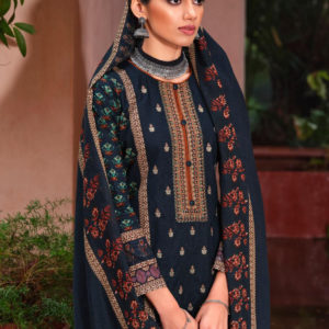 Cotton Satin Embroidered Salwar Suits
