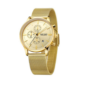 MEGIR 2011 Quartz Watch with Metal Strap – Gold MEGIR 2011 Quartz Watch Men Business Analogue Brown Leather Strap Watch Product Specifications Model number 2011 Display type Analog Style Business Dial Color Gold Clasp Type Buckle Movement Quartz Special Features 3 ATM Water Resistance, Chronograph Function, Complete Calendar Calendar Type Complete Calendar Case Size 43*49mm Case Thickness 11mm Case Material Alloy Case Shape Paper Band Length 21.9cm Band Width 22*20mm Band Color Gold Band Material Metal