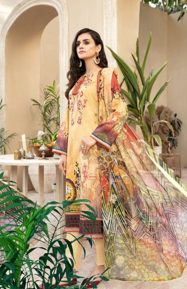Embroidered Lawn Suits with Chiffon Dupatta DPRS-2105A10 | Premium Rangpasand