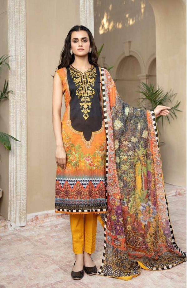 Embroidered Lawn Suits with Chiffon Dupatta