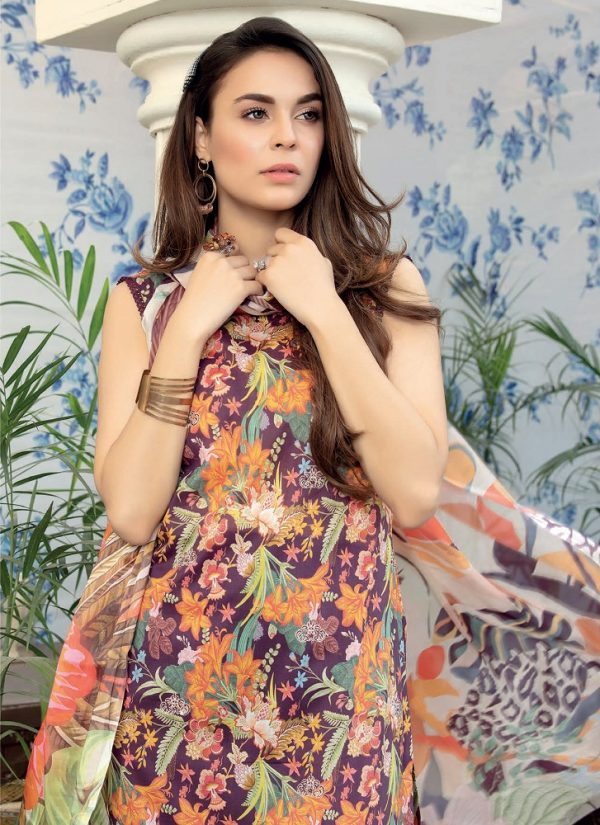 Embroidered Lawn Salwar Suits with Silk Dupatta