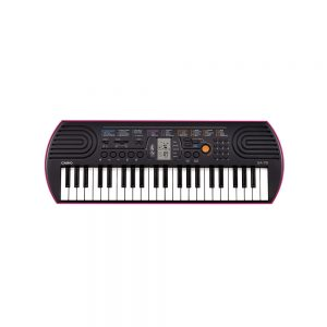 Casio-SA-78-Portable-Musical-Keyboard-Piano-Black-_-Magenta-with-Adapter