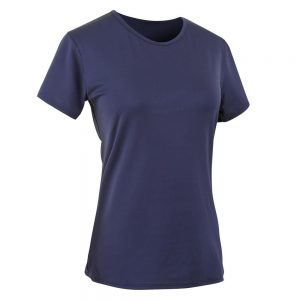 WOMENS-POLYESTER-ROUND-NECK-FITNESS-T-SHIRT-NAVY-BLUE