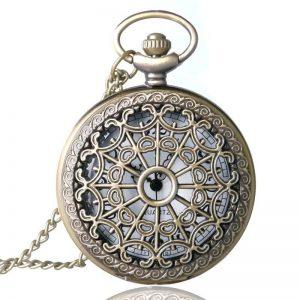 Relogio-De-Bolso-Bronze-Antique-Vintage-Quartz-Steampunk-Pocket-Watch